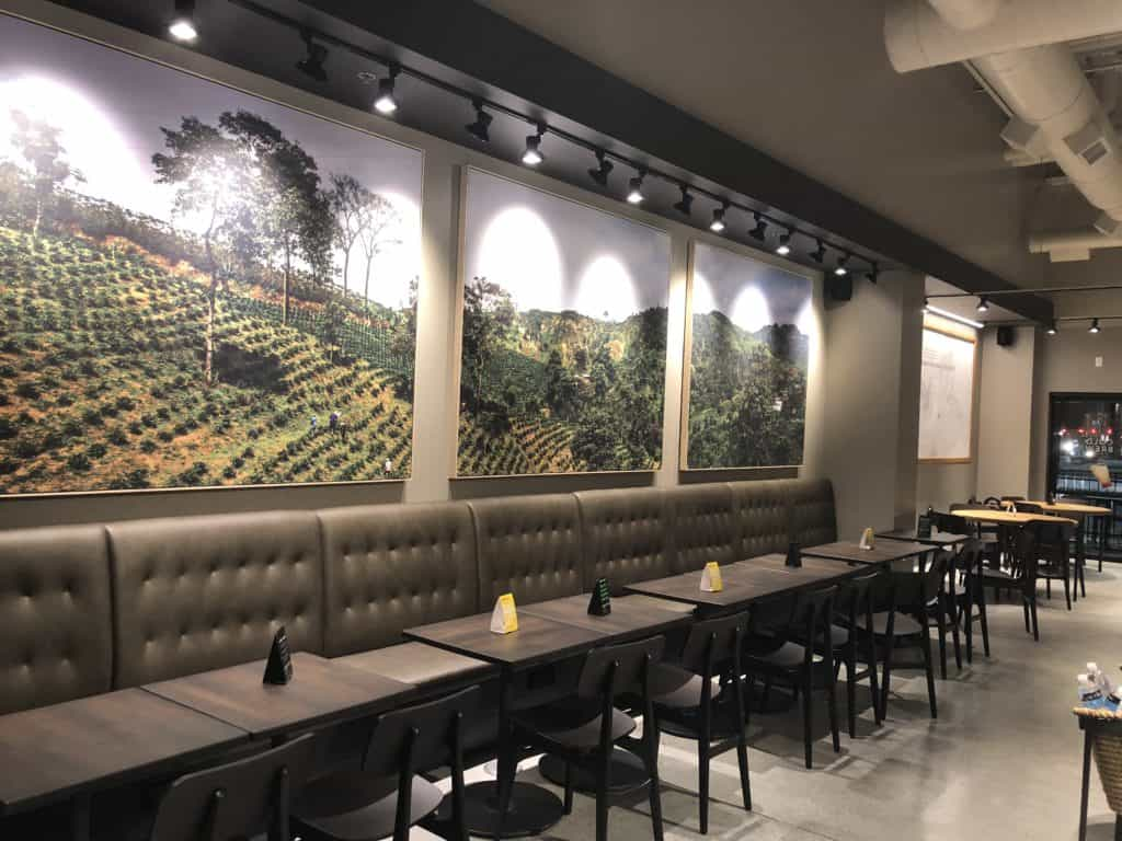 Wall covering installation Starbucks